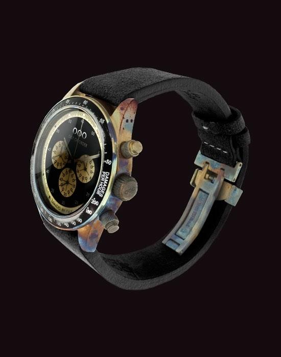 modèle Out Of Order chronographe cadran noir bracelet cuir noir