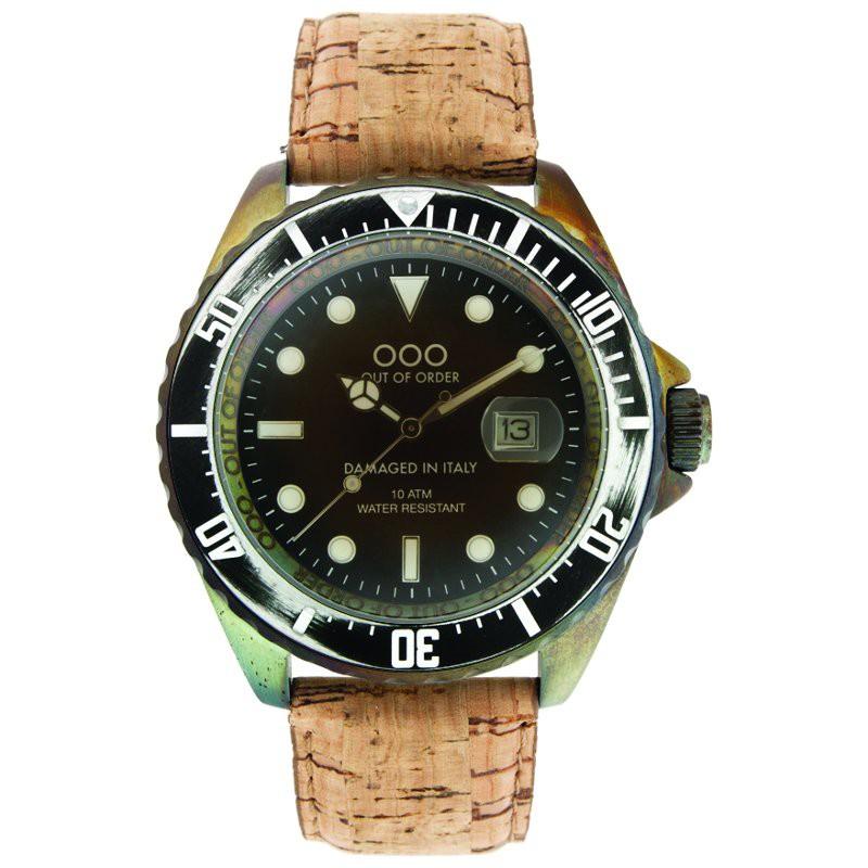 premier modèle Out Of Order cadran noir bracelet en liège