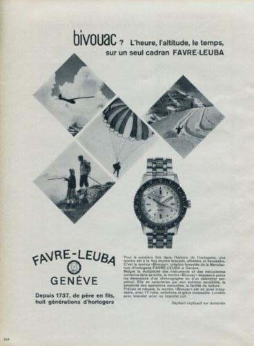 Montre Favre-Leuba Bivouac 1962 publicité
